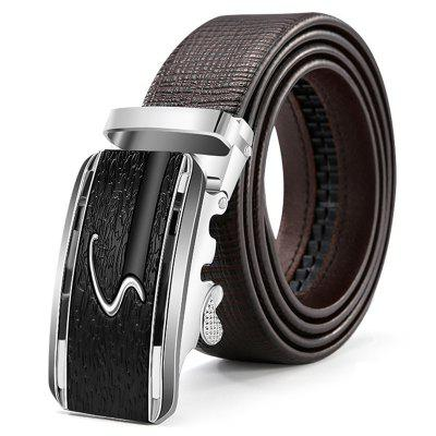 Men's Alloy Automatic Buckle Belt Fashion Business Genuine Leather Waistband