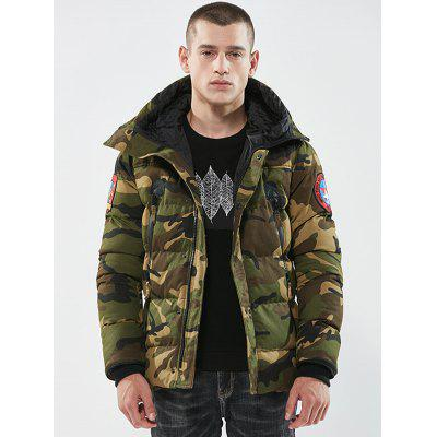 Men's Camouflage Thickening Parka Coat Hooded Collar Long Sleeves
