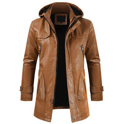 Men's Casual Fashion PU Leather Coat Hooded Long Section Slim Young