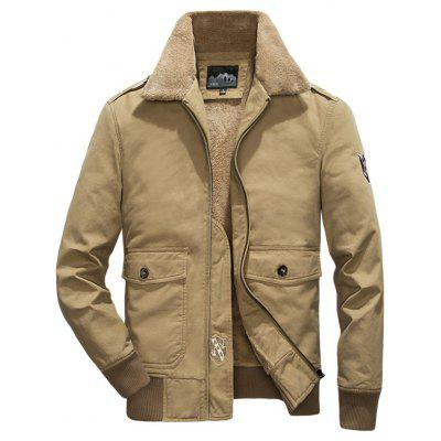 Mężczyźni Plus Velvet Turn-down Collar Jacket Fashion Washed Cotton Coat