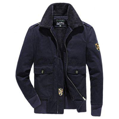 Men Plus Velvet Turn-down kraag Jacket Fashion Gewassen katoenen jas