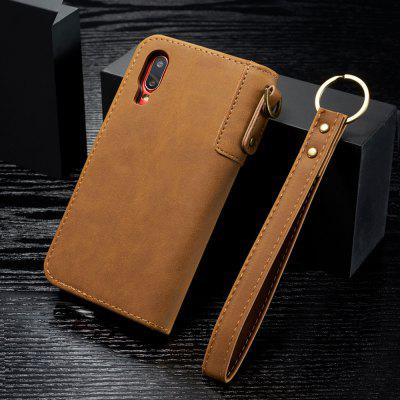 Cowhide Texture Horizontal Flip Leather Shell with Holder Card Slots Wallet Lanyard Phone Case for Samsung Galaxy A50