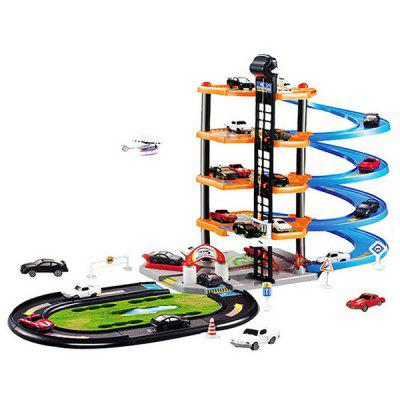 Kinderen DIY 3D Rail Car Toy Set Assembly Model Race Track + vier verdiepingen Parking Station