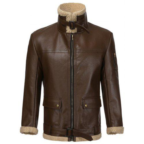 Uni-fashion Womens PU Leather Jacket Zipper Closure Coat Turn-Down Collar S-2XL