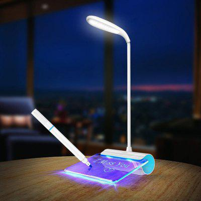 USB Charging Reading Eye Protection Table Lamp 360 Degrees Rotate Freely Light with Fluorescent Leave Message Board