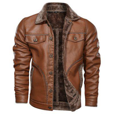 Men's PU Leather Jacket Autumn Winter Thick Plus Velvet Turn-down Collar Big Yards Washed Coat
