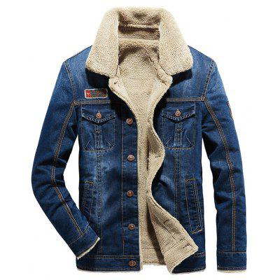 Herren Plus Dicker Samt Langärmeliges Denim Jacke Mantel