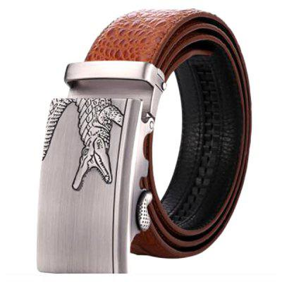 Men's Genuine Leather Belt Automatic Buckle Leather Belt Crocodile Pattern Waistband