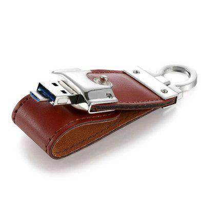 Draagbare Leather Micro USB 3.0 OTG Flash Drive U Disk