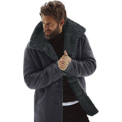 Winter Solid Color Men Coat Warm Wool Wide-waisted Long Overcoat