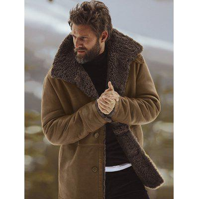 Winter Solid Color Mennen Jas Warm Wool Wide taille Lange Overcoat