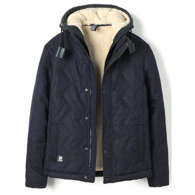 Men's Cashmere Hooded Parka Solid Color Long Sleeves Coat