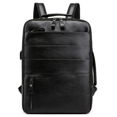 PU Material Large Capacity Portable Backpack with USB Interface