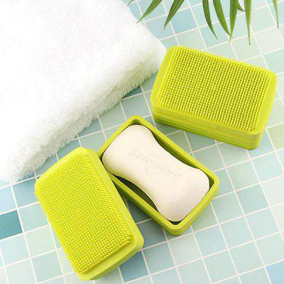 Silicone Soap Box met deksel Creative dubbelzijdige multi-functionele douche Brush