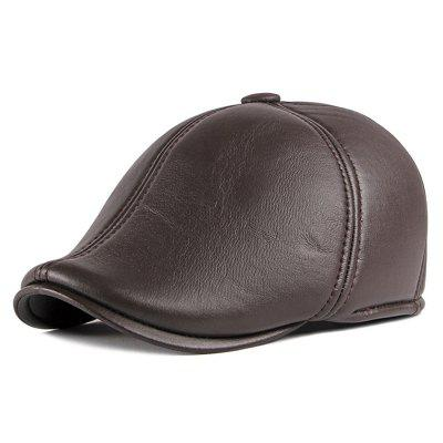 Fashion PU Leather Beret Warm Solid Color Leisure Hat