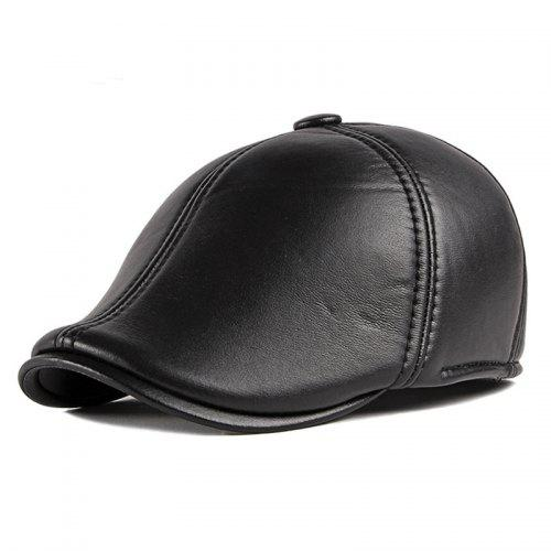 HYID Winter Fashion Solid Colors PU Leather Caps Men Baseball Cap