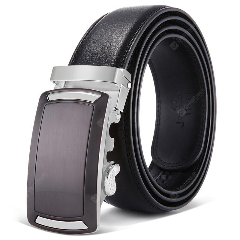 Mens 1.38 Wide Black Crocodile Embossed Leather Belt with Stylish Buckle
