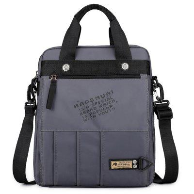 Men's Solid Color Portable Crossbody Bag Briefcase Shoulder Pack Water-resistant Nylon Material