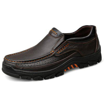 Men's Large Size Leather Casual Shoes for Autumn and Winter