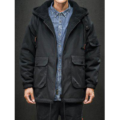 Men's Double-sided Wearing Cashmere Hooded Cotton Jacket Coat