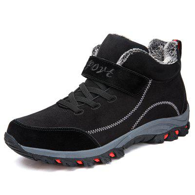 Men's Winter Suede Cotton Boots Round Toe Hiking Shoes