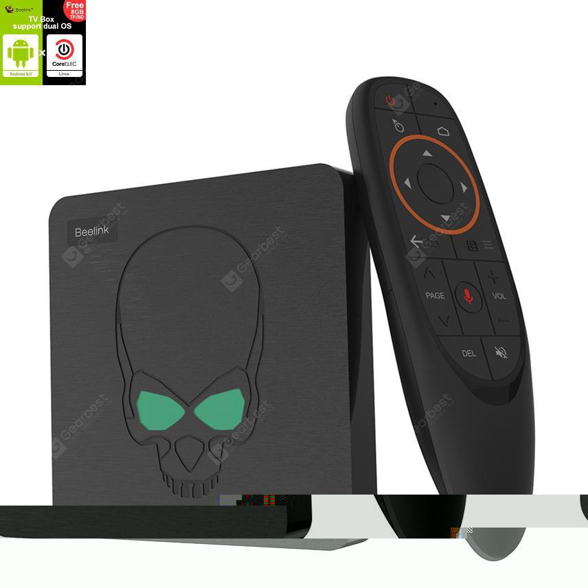 Beelink GT-King Android9.0 And CoreELEC Linux Dual Operating System 4K TV Box With Voice Remote Control Amlogic S922X 4GB RAM 64GB ROM 2.4GHz + 5.8GHz Dual-band WiFi