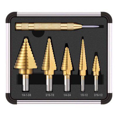 HSS Titanium Coated Step boor met Center Punch Hole Cutter Drilling Tool 6 stuks