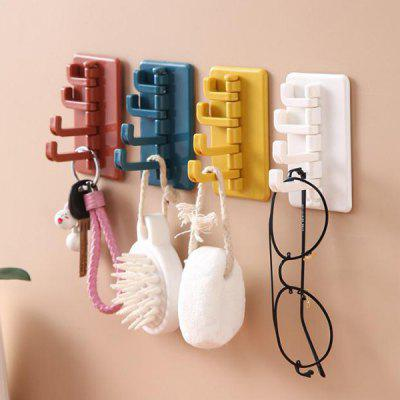 Creative Nordic Style Rotating 4 Hooks Hanger Concise Color Punch Free Organizer 4pcs