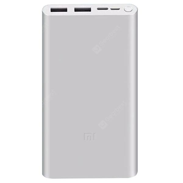 Xiaomi Portable Power Bank 3 10000mAh 18W Two-way Quick Charge 2-port Output USB Battery Charger Fast Charging Version - Silver