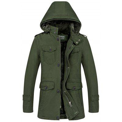 Men's Winter Thickening Jacket Solid Color Long Sleeves Hooded Collar