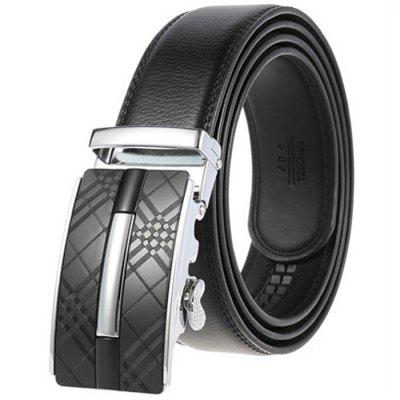Men's Business Genuine Leather Belt Automatic Alloy Buckle Retro Plaid Waistband