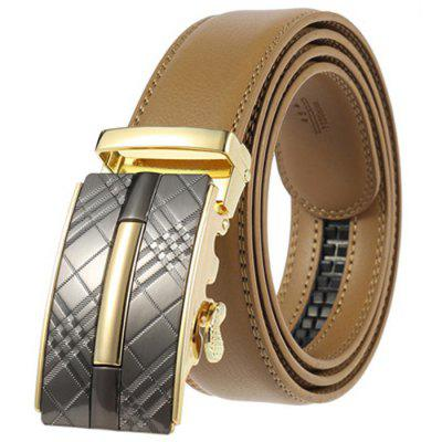 Men's Business echt lederen riem Automatische Alloy Buckle Retro Plaid Waistband