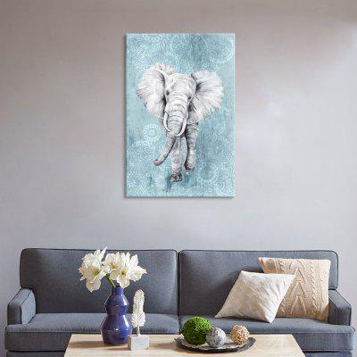 Seven Wall Arts EW-223-A Blue Paisley Pattern + Elephant Art Inkjet Painting Home Decor Printing with Pine Frame