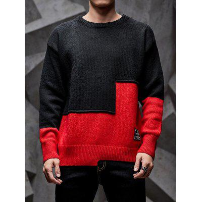 Men Colorblock Color Stitching Round Neck Long-sleeved Sweater
