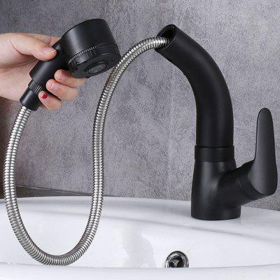 One-handle Retractable Type Faucet Dual-mode Spraying Household Pullout Sink Tap For Kitchen / Bathroom
