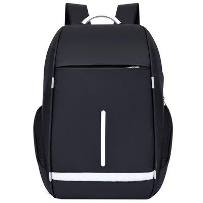 Men's Classic Casual Backpack Business Computer Bag USB Charging Port Water-resistant Oxford Cloth
