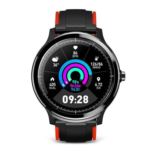 Gearbest Kospet Probe 1.3 inch Screen Bluetooth Sports Smart Watch IP68 Waterproof Double Color Fashion Strap Fitness Monitor Two Small Gifts - Black Extra Red Strap DIY Watch Face, Breathing Exercise, Heart Rate, Blood Pressure, Blood Oxygen Monitor, Two Wristbands, Screen Protector