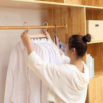 2 Hooks Horizontally / Vertically Dual-use Storage Rack Foldable 6 Clothes Hangers
