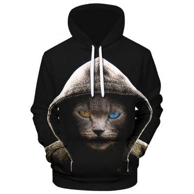 Bărbați cool pisică de imprimare Hoodie Creative Model Casual Sweatshirt Top