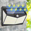 208 LED Outdoor Human Motion Sensing Lamp Max 1400lm Solar-powered Wall Light 3 Modes - BLACK