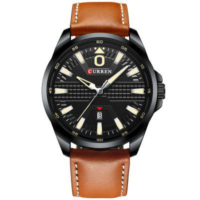 Curren 8379 Waterbestendige Ronde Heren Leather Strap quartz horloge Simple Fashion Agenda