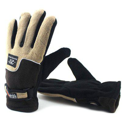 Mannen Winter Fleece Handschoenen Warm Elastic Color Matching Motorcycle Glove voor Big Palm