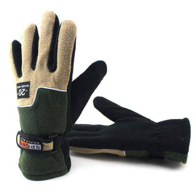 Men's Winter Fleece Gloves Warm Elastic Color Matching Motorcycle Glove for Big Palm