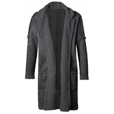 Men's Compound Long Coat Double-sided Wearing Solid Color Turn-down Collar