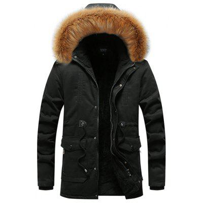 Men's Solid Color Long Hooded Parka Simple Coat with Fur Collar