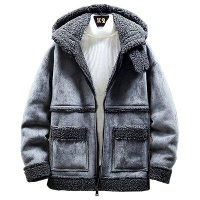 Men's Fashion Patchwork Jacket Hooded Furry Coat Warm