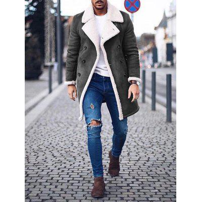 Men's Winter Warm Retro Coat Warm Long Double-breasted Jacket