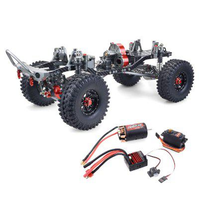 ZD Racing SCX10 1/10 4WD CNC All Metal Carbon Fiber RC Car Frame + 540 Motor + 60A waterdichte ESC + M1500 Servo Straight Bridge Version