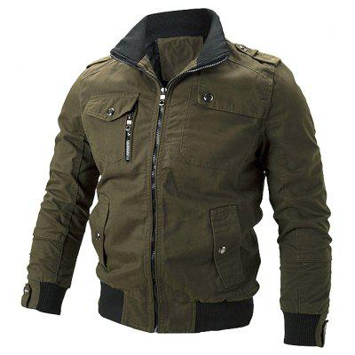 Men's Casual Jacket Double Collar Solid Color Long-sleeved