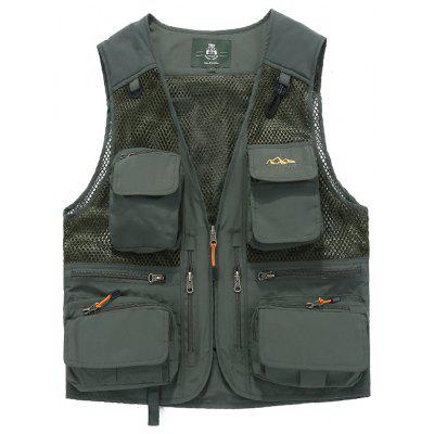 Pánske Multi-Pocket Vesta Solid Color Casual Vest